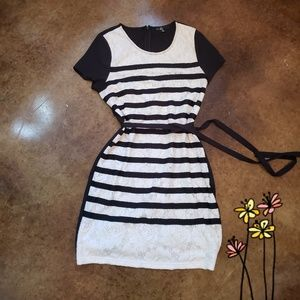 Anthropologie C. Luce Striped with Cream Lace Dres